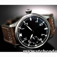 Kostenloser Versand 44mm klassische schwarz zifferblatt parnis leucht makrs asien 6497 bewegung Mechanische Uhren handaufzug herren uhr PA01-in Mechanische Uhren aus Uhren bei