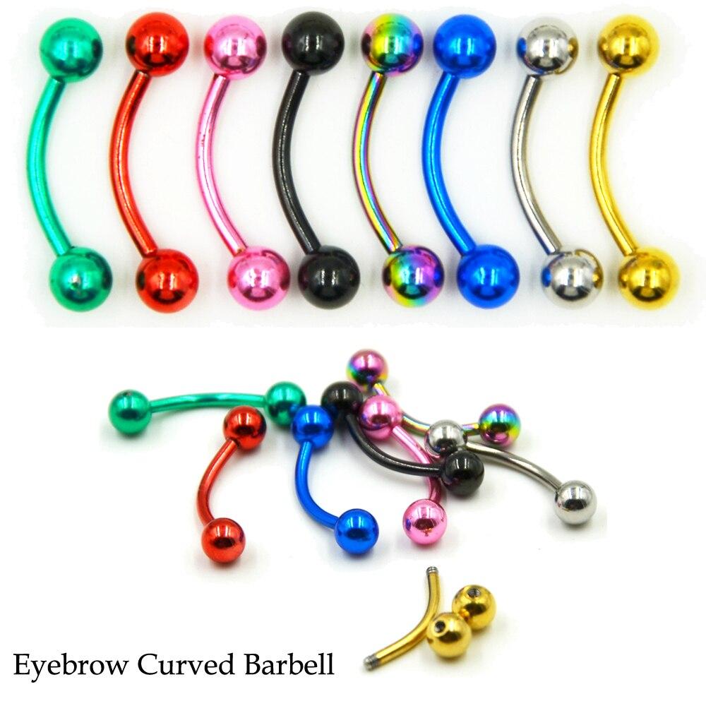 16G Titanium Curved Barbell Eyebrow Ring Daith Ear Tragus Cartilage Piercing
