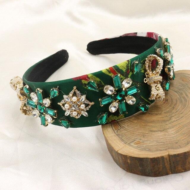 Brand D@G Catwalk Green Silk Baroque Headband Crystal Flower Hair Hoop Hair Band Women Pearl Bow Headdress Wedding Party Jewelry