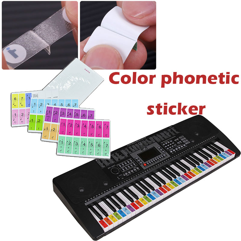 Piano Stickers Music Sticker Colorful Study Electronic Organ Instrumental Education Art Practical Educational Supplies