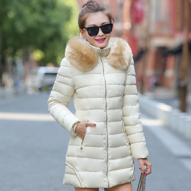 2016 Nueva Promoción de la Llegada Abajo Sólido de Ucrania En Nombre De Un Abrigo de invierno Chaqueta Larga de Las Muchachas Tamaño Gruesa Acolchada Cuello Slim Down.