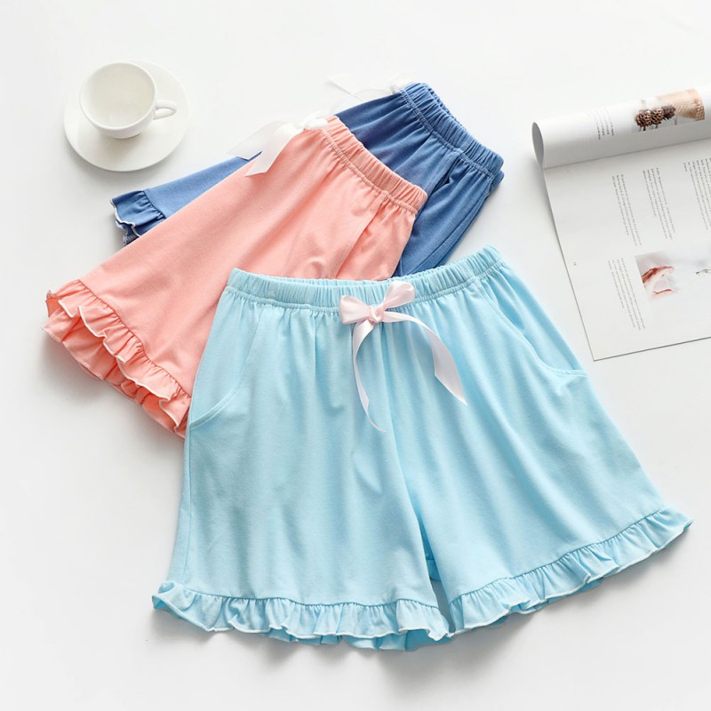 Cozy Cotton Ladies Pajamas Home Pants Summer Solid Color Simple Women Sleep Bottoms Drawstring Ruffle Shorts Sexy Lingerie