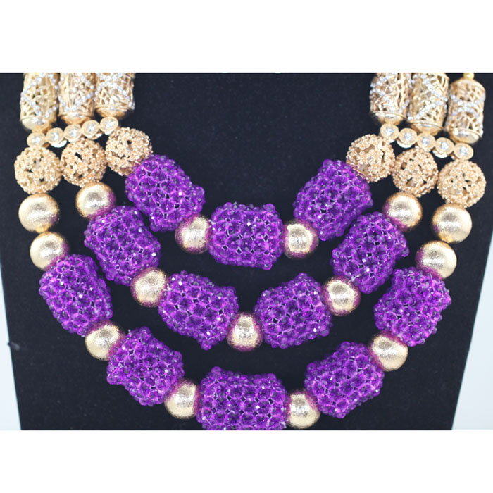 fabulous purple nigerian wedding beads jewelry set women