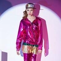 Демисезонный Для женщин роза красная куртка-бомбер этап одежда для сцены блестка feminina casaco хип-хоп Танцы пальто