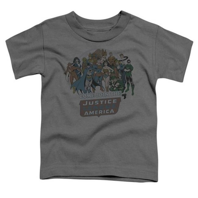 Trevco Dc-Join The Justice League – Short Sleeve Toddler Tee – Charcoal Large 4T