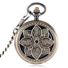 Retro Flor de Loto de Cobre Reloj de Bolsillo de Las Mujeres Esqueleto Mecánico de la Mano-bobina Azul Números Romanos Regalo P2016C