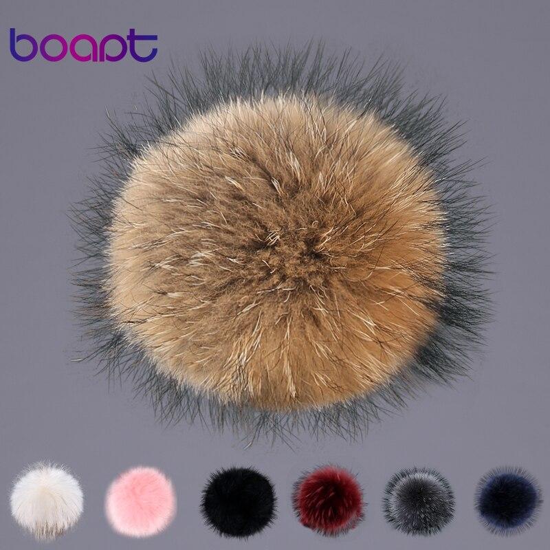 [boapt] real raccoon fur fluffy pompon 100% natural genuine fox fur pom pom caps women winter hats accessories