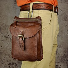 Hot Sale Top Quality Genuine Real Leather Cowhide men Vintage Small Messenger Bag Pouch Waist Pack travel phone Bag