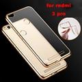 luxury clear Gold original transparent soft tpu phone battery cases back coque cover case for xiaomi redmi3 redmi 3 pro 3s s 5.0