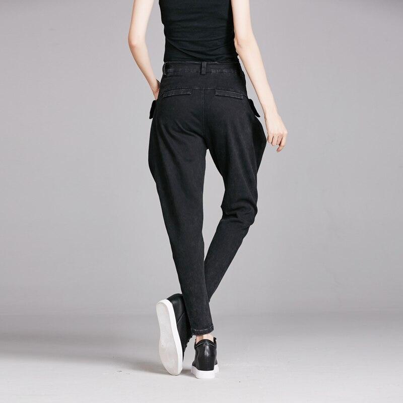 Spring Vintage punk rock harem pants feminino slim black big pockets denim jeans Women New Fashion Water Washed Hiphop Trousers