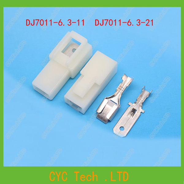 2set dj7011-6 3-11/21 6 3mm 1 pin storage battery electric connector 6 3 mm wiring  harness plug car connectors