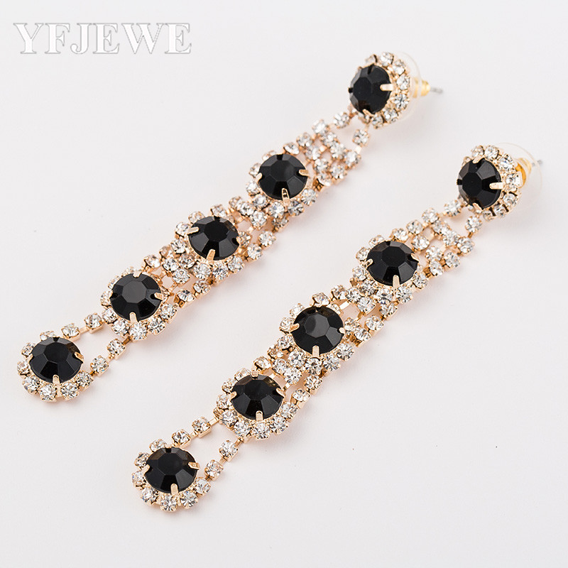 YFJEWE Tiba Hot Sale big drop earrings untuk wanita Fashion temperamen paragraf panjang anting kristal versi perempuan