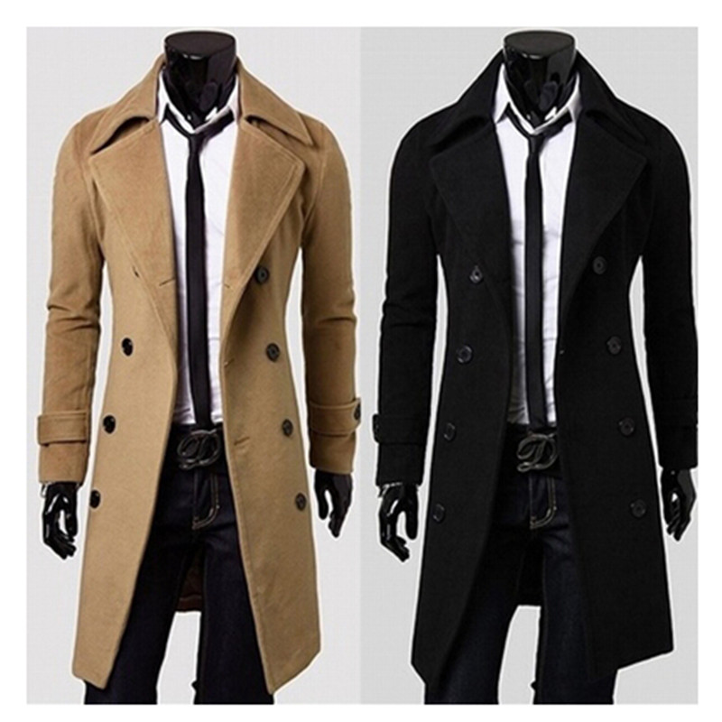 Long Wool Trench Coat Men Photo Album - Reikian