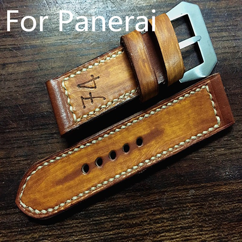 24MM 26MM Handmade Top Retro Leather Watch Strap, Calfskin Watchbands Watch Belt For Pam imported calfskin leather watch strap