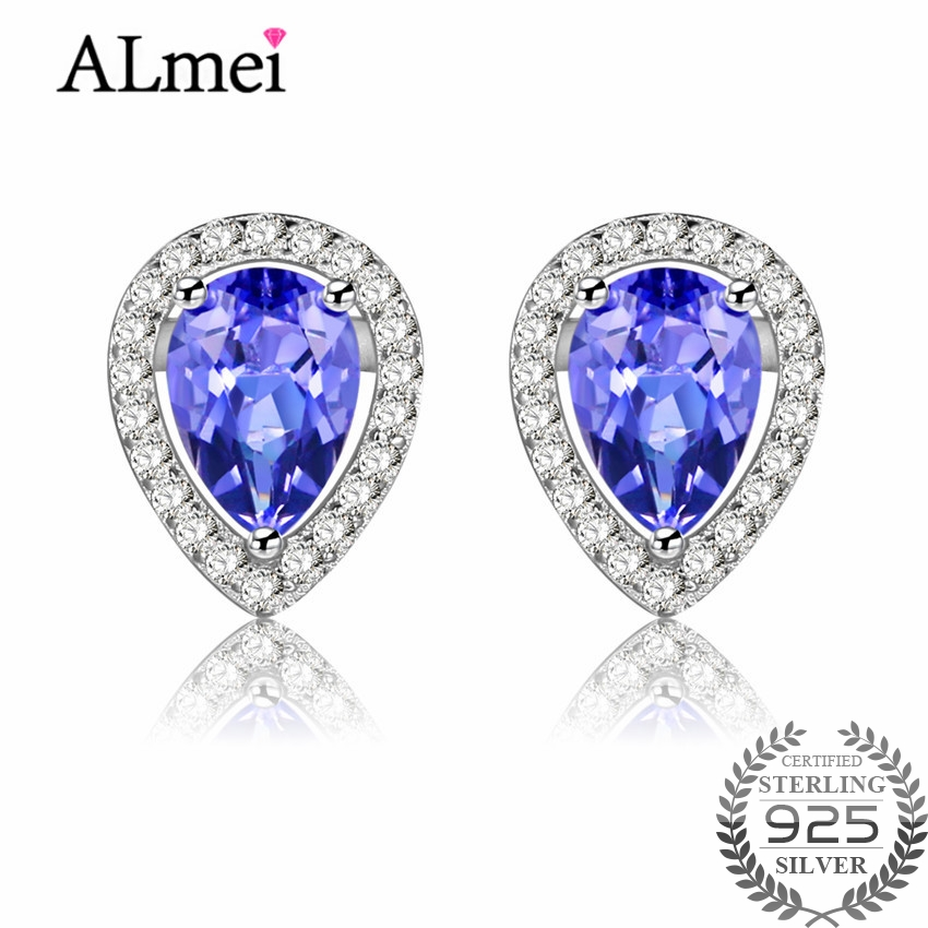 Almei Silver 925 Luxury Cushion Cut Teardrop 0.6ct Tanzanite Crystal Wedding Stud Earrings for Women Free Box 40% FR017
