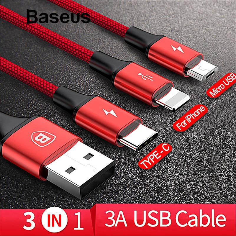 Baseus 3in1 2in1 Cable USB para iPhone 7 6X8 Cable Micro USB tipo C Cable para Samsung S9 s8 de Cable de carga rápida de 3A cargador Cable