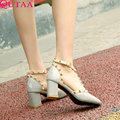 QUTAA Square High Heel Ladies Rivet Summer Shoes PU leather T-strap Woman Pump Pointed Toe Ladies Wedding Shoe Size 34-43
