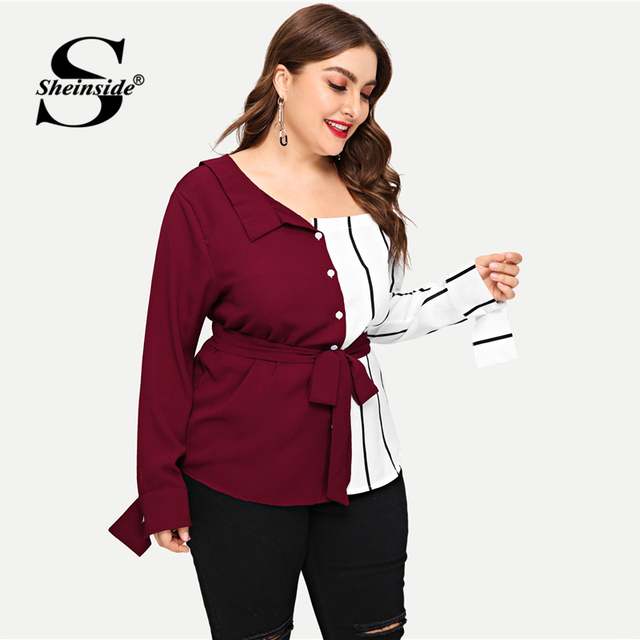 Sheinside Plus Size Striped Panel Open Shoulder Women Blouse Belted Long Sleeve Ladies Tops Elegant Asymmetrical Neck Blouses 3