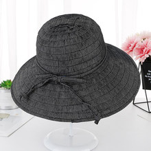 329a68449ff New Korea Style Summer Beach Hats for Women Solid Plain Packable Big Wide  Brim Sun Hat Lady Casual Panama Bucket Cap