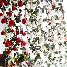 180cm Roses artificial flowers Vine Wall Hanging Garland Wreath romantic Home wedding decorative Pink White Red