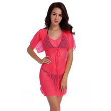 Women Elegant Short Sleeve V Neck Lace Hollow Out Solid Mesh Beach Dress Vestidos