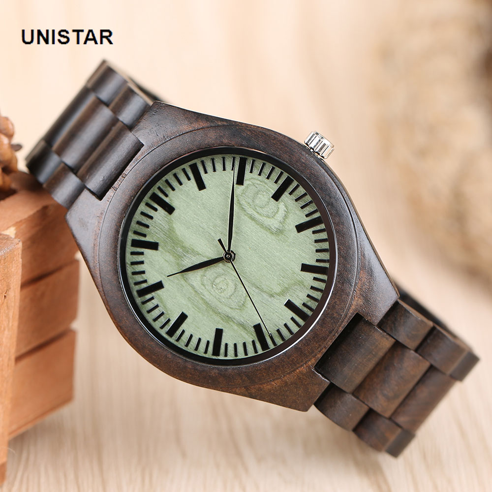 UNISTAR   Luxury Luminous Green Wooden Dial Nature Bamboo Wood Quartz Watches With Wooden Band Father's Day Gift Top Men Watches unistar luxury nature wooden wrist watches quartz father s day gift top men women watches relojes de madera relogio masculino