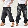 NOVO 2016 calças de brim dos homens do estilo da Moda Largas dançarinos de hip hop solto tamanho grande calça jeans meninos jeans skate rap plus size 30-46