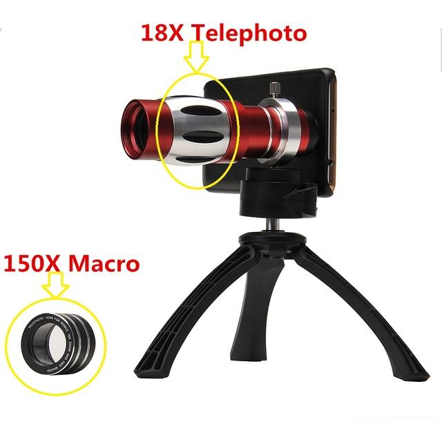4in1 kit de lentes de cámara del teléfono 18x telescopio lente telefoto teleobjetivo para iphone 6 6 s 7 plus 5 5S sí 4S 4 caso 150x zoom lens macro trípode