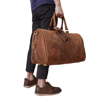 Casual Man Travel Bag Big Capacity Crazy Horse Cow Leather Travel Duffel Carry On Tote Large Luggage Weekend Bags Overnight