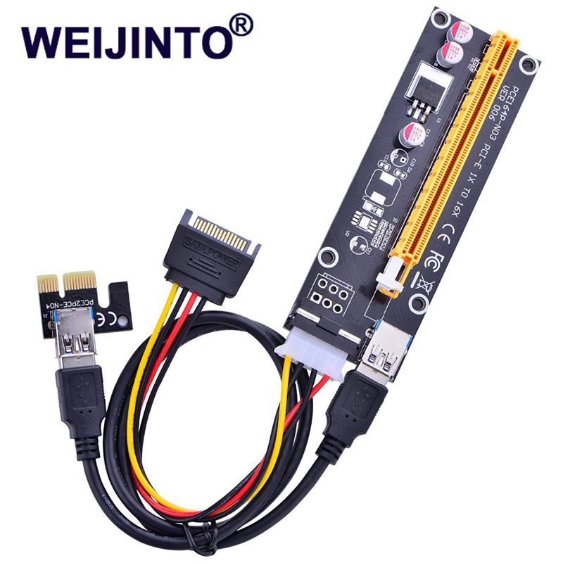 6x USB3.0 PCI-E Express 1x to 16x Extender Riser Card Adapter SATA Power Cable