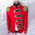 Мода сценической одежды для мужчин певец танцор одежда с бусины горный хрусталь ночной клуб модный пиджак пиджаки DH-017