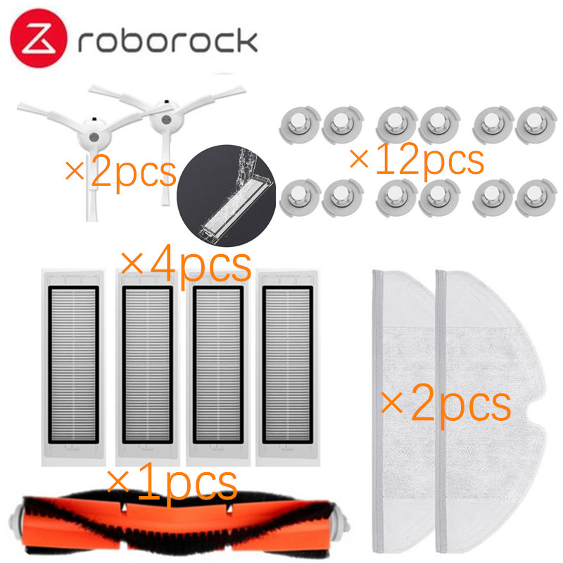 Suitable for Xiaomi Roborock Robot S50 S51 Vacuum Cleaner Spare Parts Kits Mop Cloths Wet Mopping filter Side Brush Roll Brush цена и фото