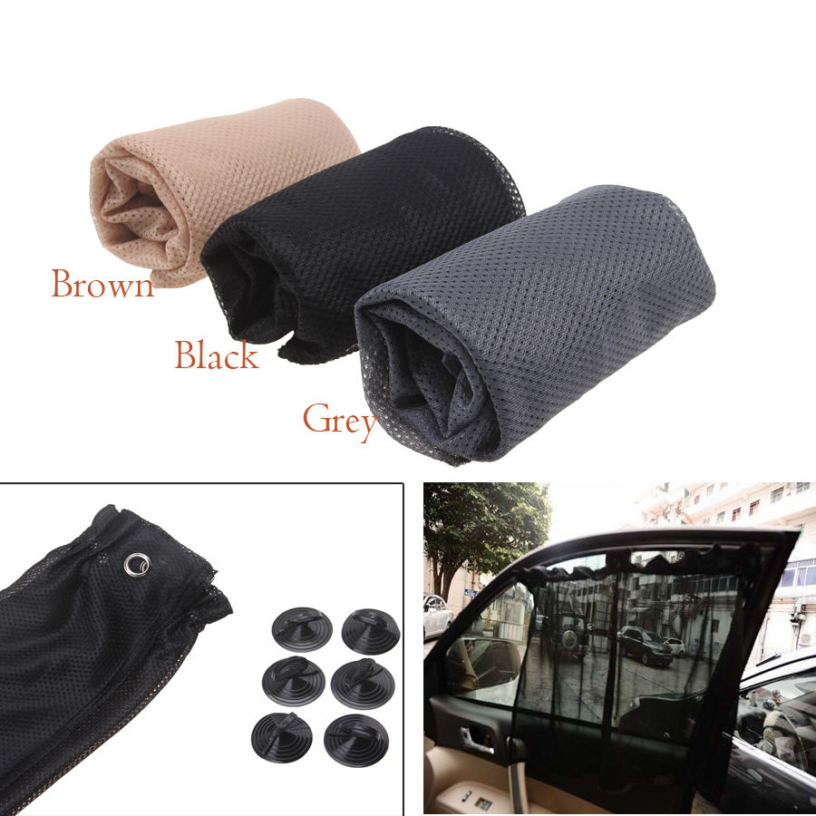 Car interior curtains - Black Grey Brown Car Sun Shade Side Window Curtain Auto Interior Uv Protection Mesh