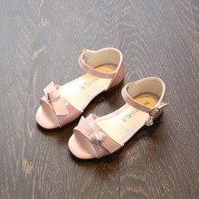 Kids Sandals Girls Summer 207 New fashion bowknot PU snug style Sandals