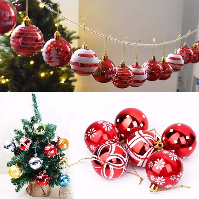 6pcsset 6cm8cm shatterproof christmas balls painted ornaments party christmas festival decorations sets