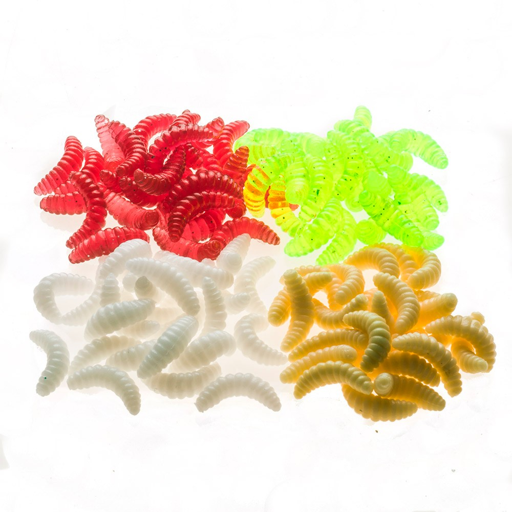soft bait 100PCS 2cm 0.4g Maggot Grub Soft Lure Baits Worms Glow Shrimps Fishing Lures Protein Soft Lure for carp free shipping