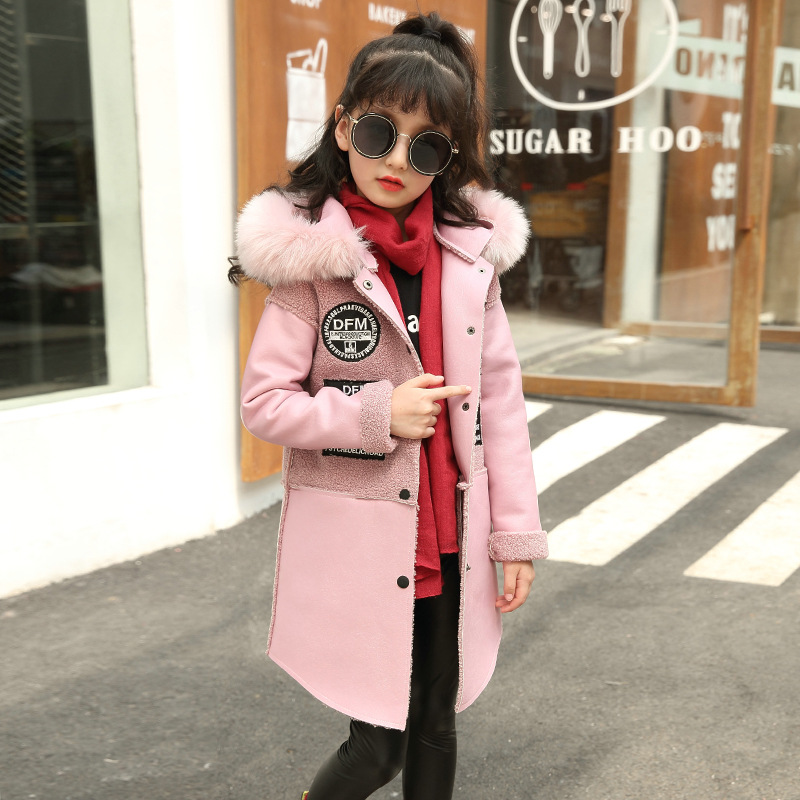 Kids Girls jackets coats winter autumn Fur collar outerwear hooded PU faux leather patchwork coat girl children's clothing new hooded fur collar clothing women korean costume loose long outerwear female large size thick winter coat female okxgnz q1057
