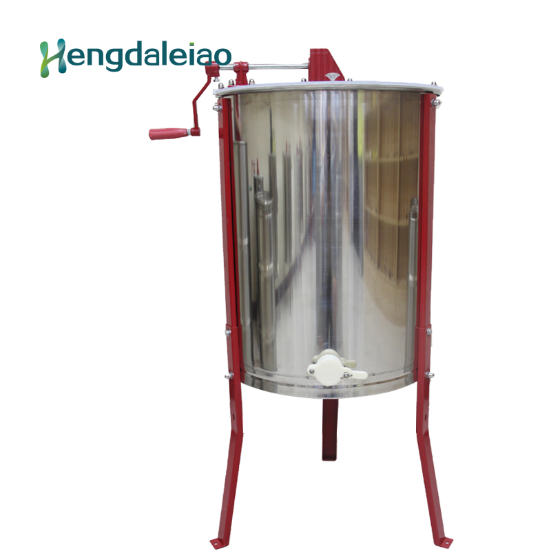 Beekeeping Equipment/Tools Manual Stainless Steel 4 frames Bee Honey Centrifuge Machine/Honey Extractor with Three Red Legs