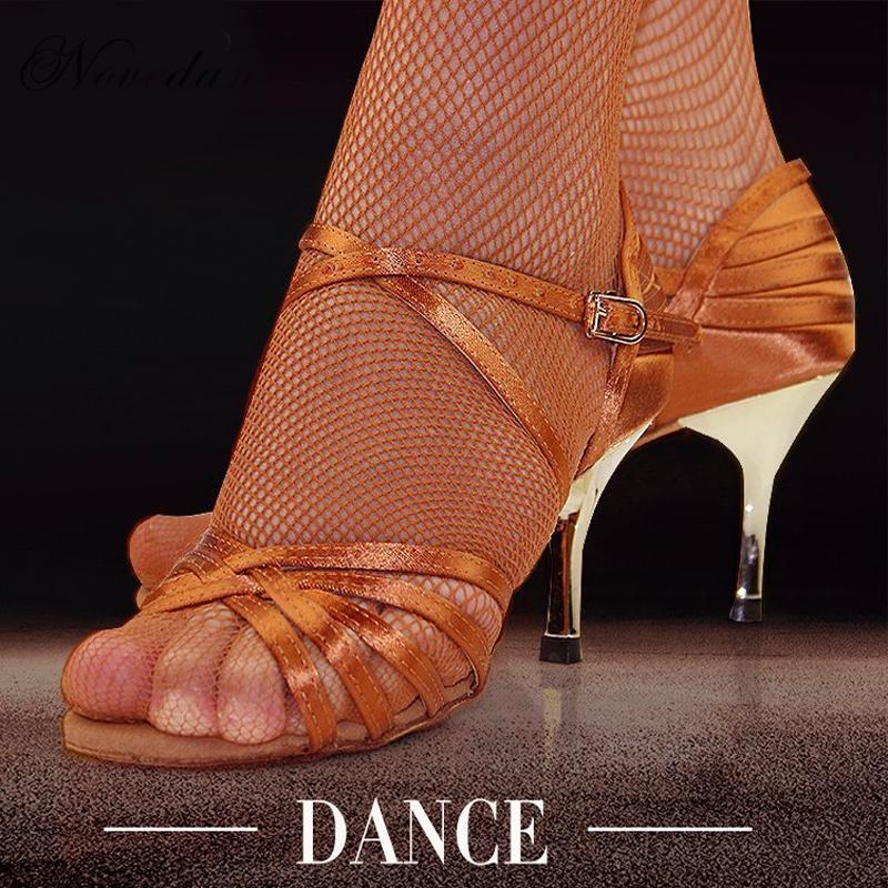Women Professional Latin Salsa Dance Shoes Tango Ballroom Samba Dance Shoes Ladies High Heels Soft Dancing Shoes 5cm/6cm/7cm/8cm