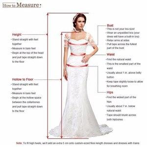 Image 5 - Side Slit A Line vestidos de novia Bohemia Sexy escarpado cuello alto mangas cortas Chic Apliques de encaje gasa vestidos de novia con botones en la espalda