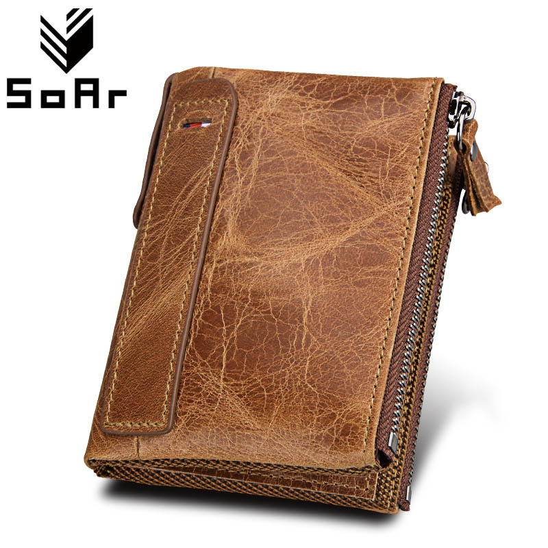 SoAr Famous Brands Genuine Leather Male Short Coin Purse Crazy Horse Leather Men Wallet Vintage Zip Small Credit Card Holders joyir vintage men genuine leather wallet short small wallet male slim purse mini wallet coin purse money credit card holder 523