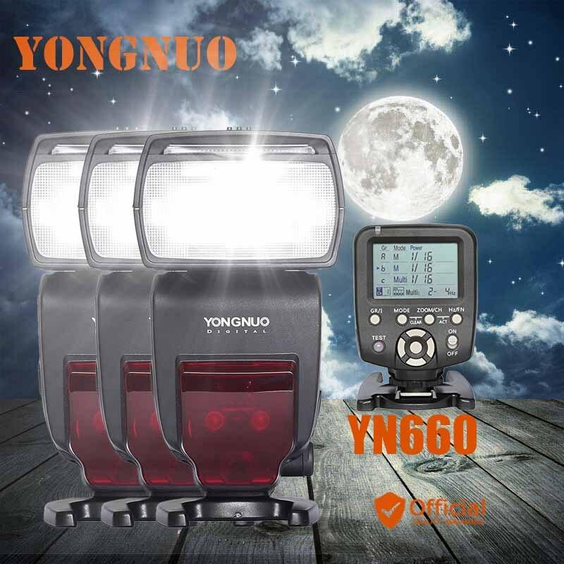 3x YONGNUO YN660 Wireless Flash Speedlite GN66 2.4G HSS 1/8000s+Trigger for Nikon D3S D3X D3 D800 D600 D610 D7200 D7000 D90 D80 стоимость