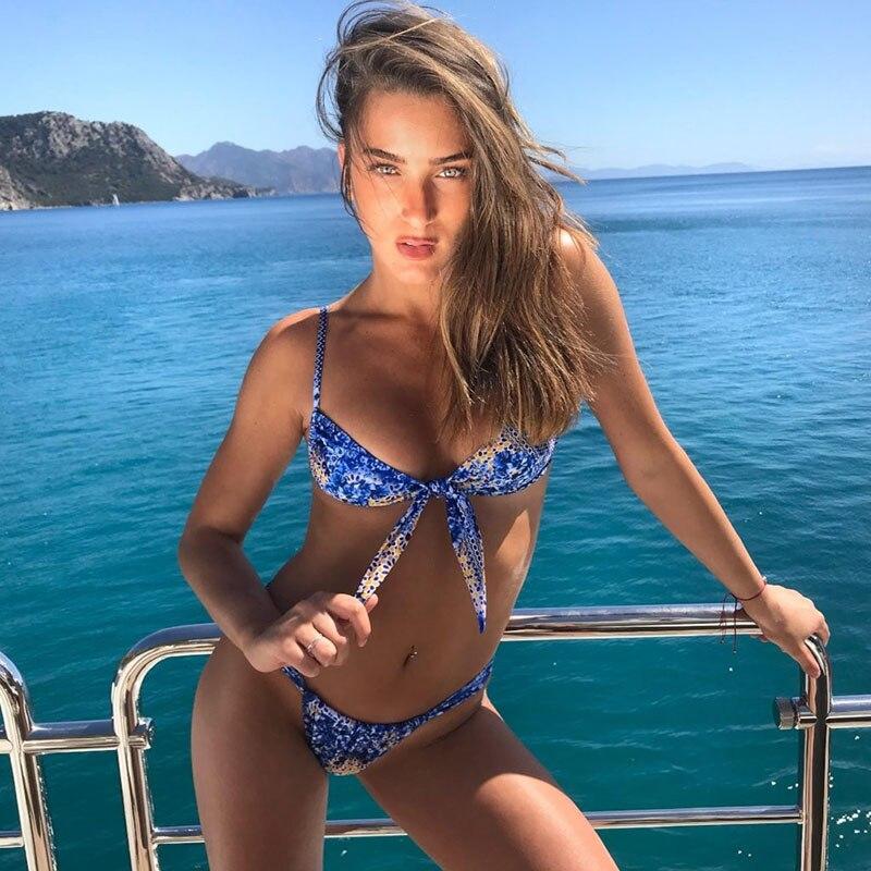 f5c177250839f ... Swimsuit. US  10.41. Front Bow Blue Tie-dye Women Bikini Sets Bandage  String Padded Print Monokini Tankini Summer