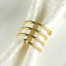 6PCS metal spring napkin ring buckle wedding hotel double bead mat towel gold / silver