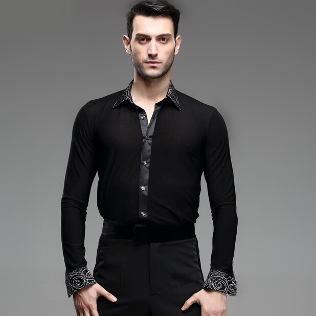 Picture of Print Mens Latin Shirts Dance Top Mens Ballroom Dancewear Men #39;S Latin Dance Costumes Stage Clothing For Men Ballroom Clothes