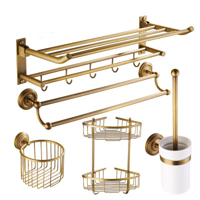 5 Piece Suit Brass Bathroom Accessories Shelf, Antique Bathroom Shelf Hooks  Towel Bars Set,
