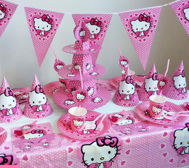 Aliexpress Com Buy Hello Kitty Theme Kids Birthday Party