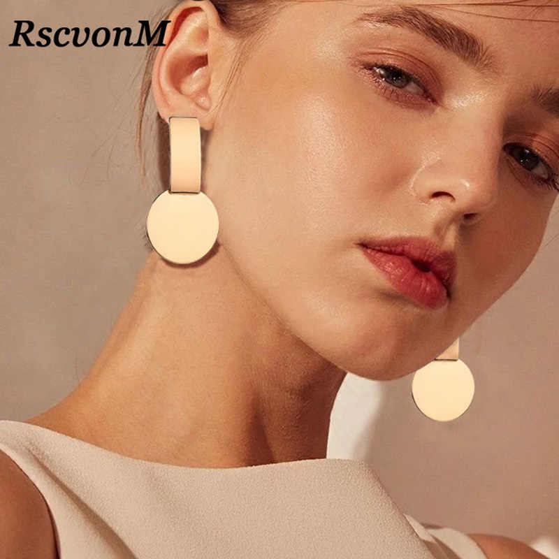 RscvonM New Fashion Geometric Square Round Coin Earrings For Women Fashion Punk Gold Indian Long Drop Earrings Jewelry Brincos