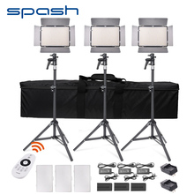 SPASH TL-600A LED Video Light Kit Bi-Color Adjustable Photographic Lighting with 2.4G Remote Control NP-F750 Battery + Charger