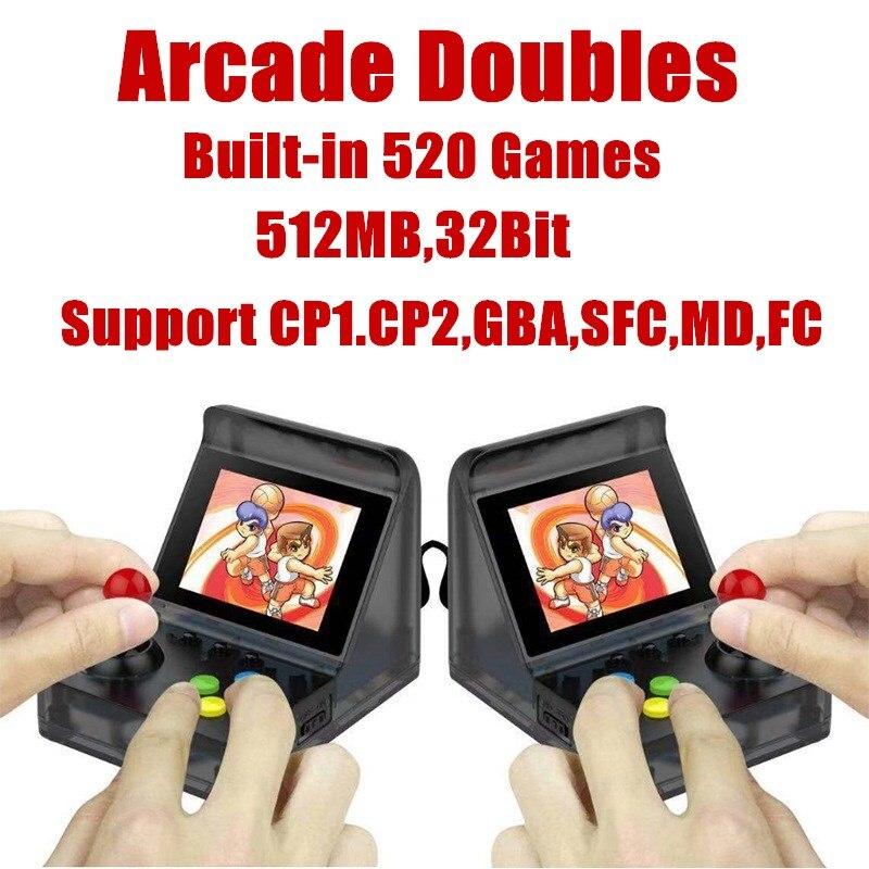 32Bit 3.0 ''Mini Portable rétro Console de jeu vidéo joueurs portables intégrés 520 classique jeux soutien Arcade double connexion